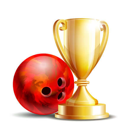 Bowling Game Award. Bowling Ball and Golden Cup. 矢量图像