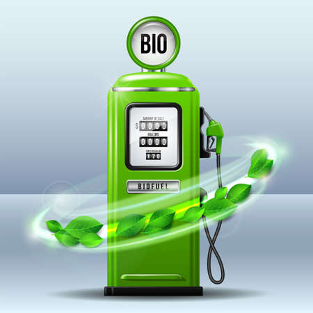 Whirlwind of green leaves swirls around Green bright Gas station pump with fuel nozzle of petrol pump. Realistic Vector illustration. Biofuel concept