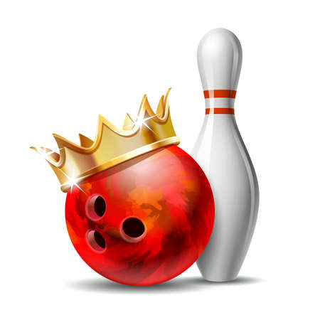 Red glossy bowling ball with golden crown and white bowling pin with red stripes. Equipment for Sport competition or Activity and fun game. Vector illustration isolated on white background