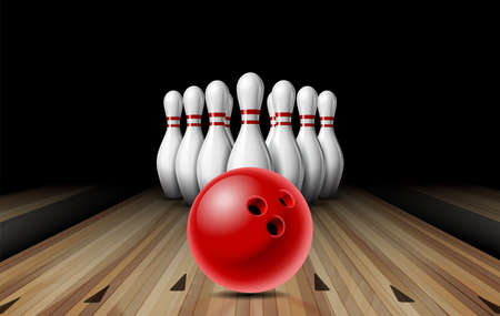 Red glossy ball rolling on bowling alley line to ten placed in order white bowling pins. Concept Sport competition or Activity and fun game. Vector Illustratie