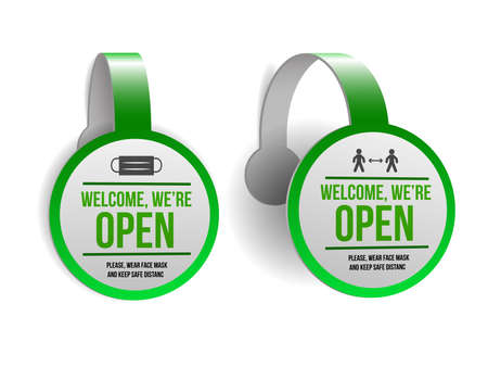 Open sign on green label - welcome back. Set of Information sign for front the door about working again. Keep social distance and wear face mask. Vector illustration isolated on white.