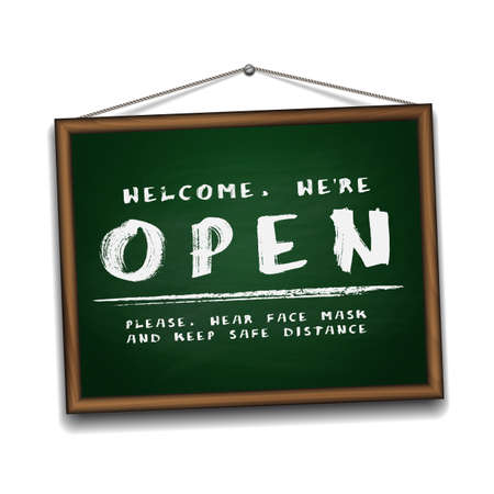 Open sign on green chalkboard in wooden frame. Information sign for front the door about working again.