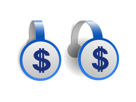 dollar symbol with two vertical lines on Blue advertising wobblers.