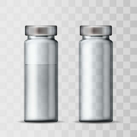 Template of transparent glass medical vial with aluminium cap.