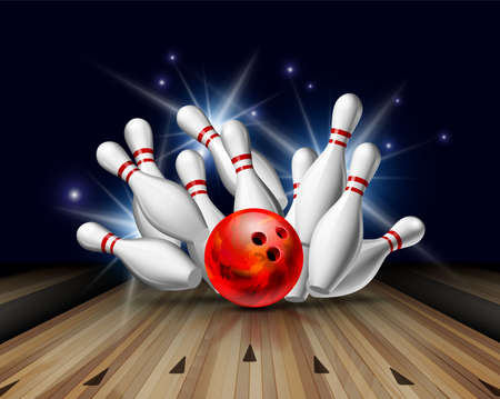 Red Bowling Ball crashing into the pins on bowling alley line. Illustration of bowling strike Illustration
