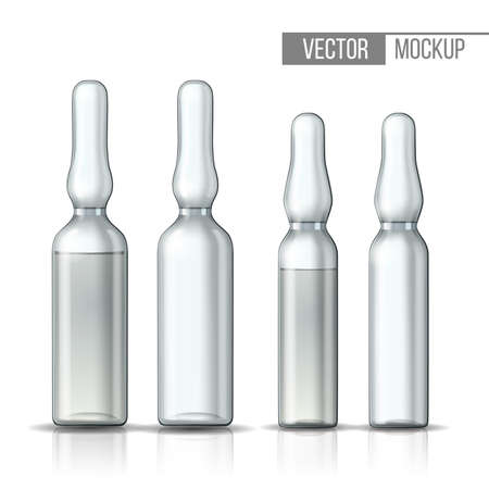 Empty transparent glass ampule and ampule with vaccine or drug for medical treatment.