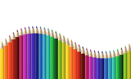 Crayons - seamless row of colored pencil like wave. Vector illustration isolated on white Vecteurs