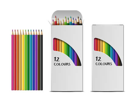 Set of Vector realistic boxes of colored pencils isolated on white background. Vector Illustratie