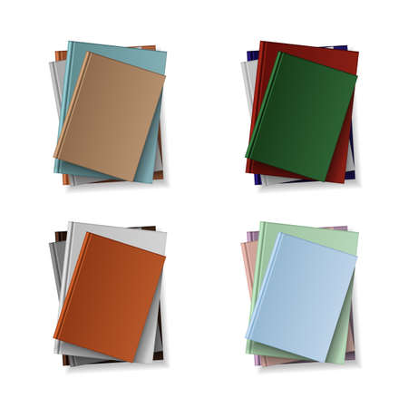 Stack of blank books, top view. Various blank color books on white background