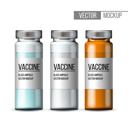 Template of transparent glass medical vial with aluminium cap. Ilustração Vetorial