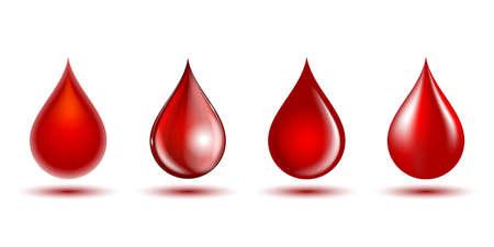 Red shiny drops of blood isolated on white background. Vektoros illusztráció