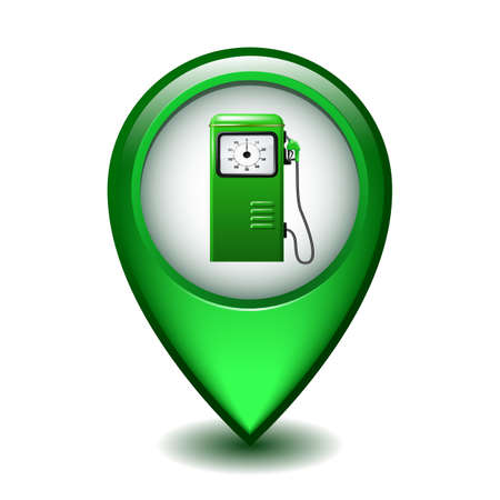 Green Glossy Style Map Pointer With Gasoline station icon.