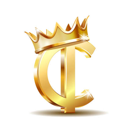 Ghana Cedi currency symbol with golden crown, gold money sign, vector illustration