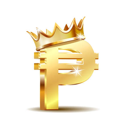 Philippine peso currency symbol with golden crown, golden money sign