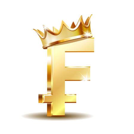 Swiss Franc currency shiny gold symbol with golden crown. Switzerland sign. Ilustração
