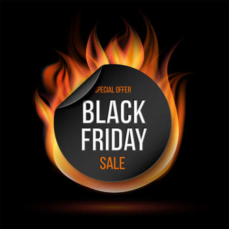 Black Friday sale fire label vector illustration. Fiery special tag or badge for business promotion. Vettoriali
