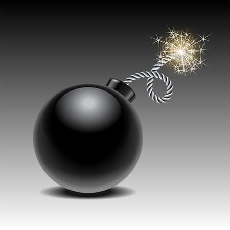 Round black bomb ready to explode with lit fuse