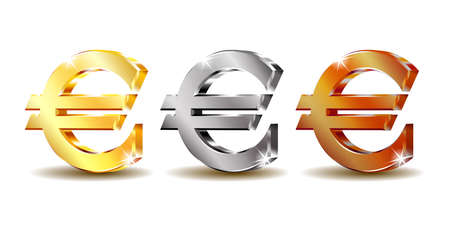 Set of sign euro currency. Vector illustration isolated on white Иллюстрация
