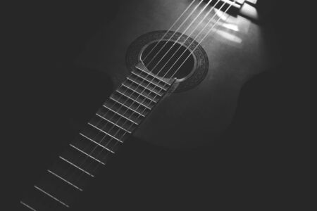 professional flute: Acoustic Guitar white and black background Stock Photo