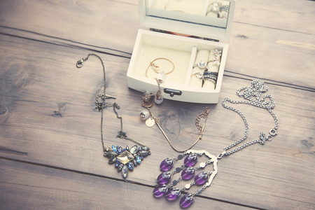 neckless: A collection of vintage jewelry in antique wooden jewelry box
