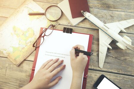 romance strategies: Take me to the trip! planning items. Stock Photo