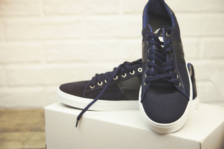 shoe box: A pair of new blue shoes in a shoe box Stock Photo