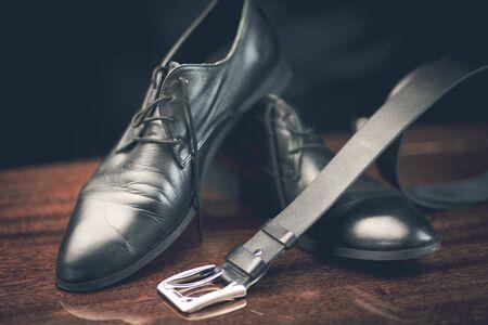 stylish leather mens dress shoes and belt Stock Photo