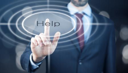 selfcontrol: Businessman pressing a Help concept button.
