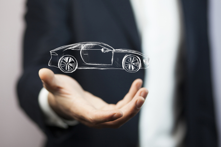 Businessman with giving gesture and icon of car.
