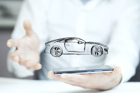 Businessman hand phone and car on white background Stock Photo
