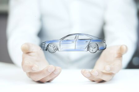 man hand car on the white background Stock Photo