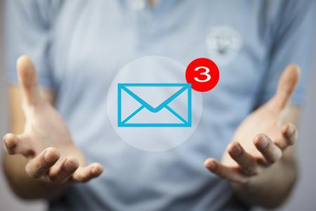Businessman internet concept.Man hand message in screen Stock Photo