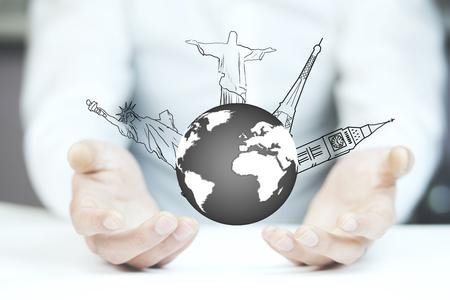 Businessman hand draws the airplane travel around the world Stock Photo