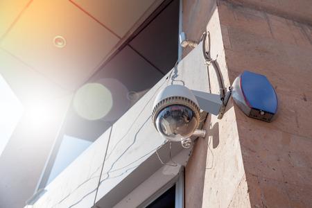 security surveillance CCTV video cameras in street