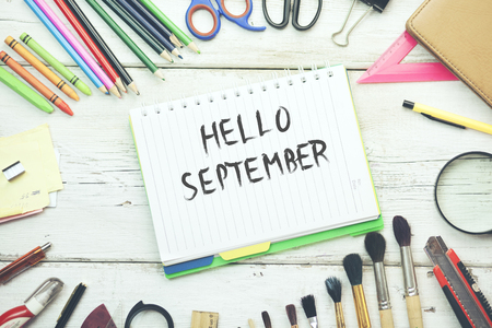 september text on notepad