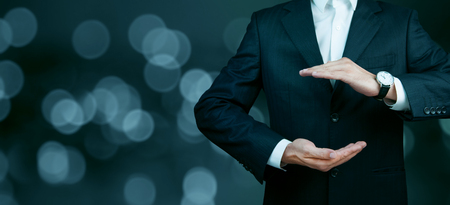 Businessman standing posture show hand isolated on over blur background
