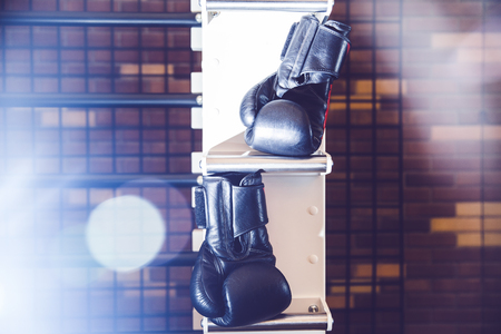Close up detail of black boxing glove. Stock Photo