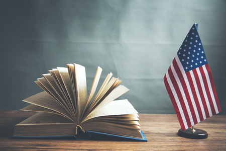 Composition of American flag and  book