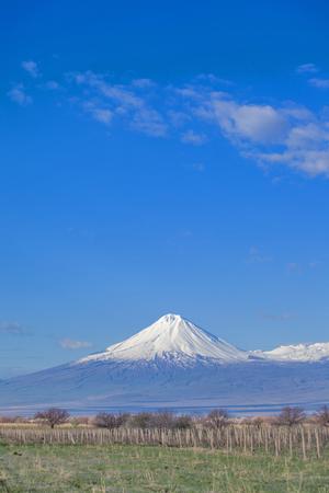 snowy hight ararat mountain in the Armenia