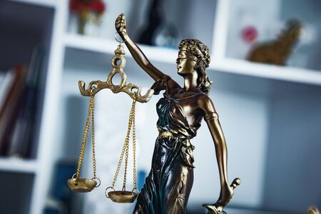 The Statue of Justice on the home background Stok Fotoğraf