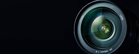 for camera lens on the black background