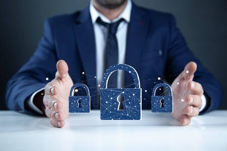 man hand lock in screen