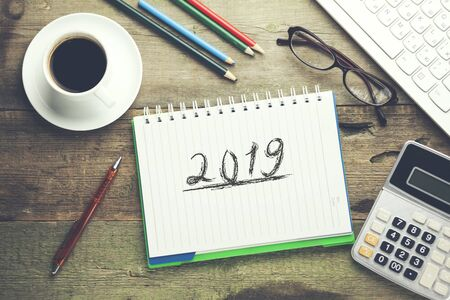 2019 text with keyboard on the notepad