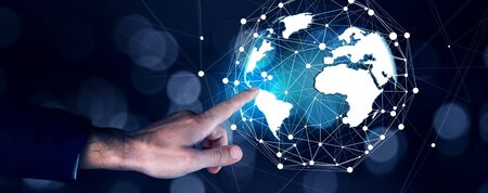 man touching in globe in the  screen Stok Fotoğraf