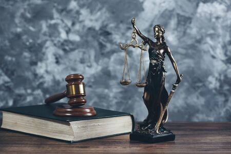 lady justice with hammer on  the book