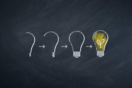 Light bulbs on chalkboard background