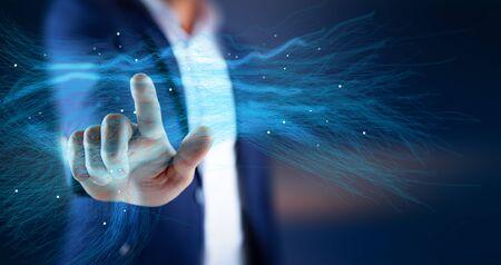 man touching in blue screen Banco de Imagens