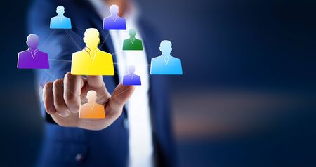 man hand  people network in screen