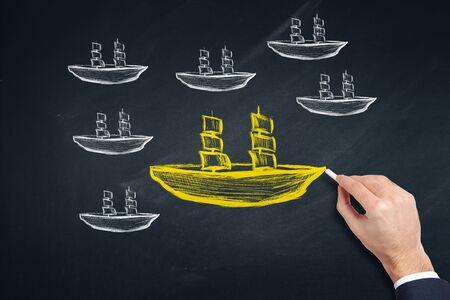 man drawing boat on board Banco de Imagens