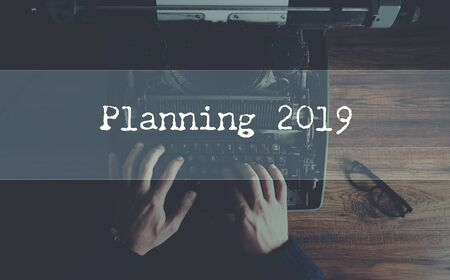 planning 2019 with Typewriter and man hand Reklamní fotografie